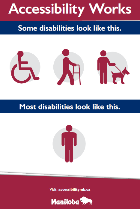Fig 1.0 Sign states that accessibility works, with subtext that reads some disabilities look like this with three disability icons. Underneath, subtext states most disabilities look like this with single stick figure.
